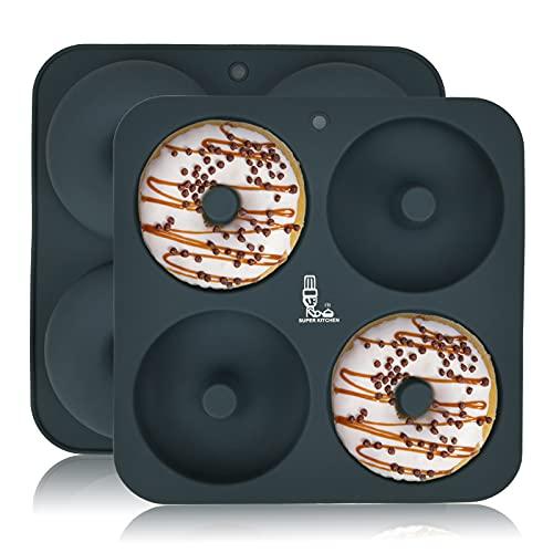 SUPER KITCHEN 2 Stück Silikon Donut Formen Groß mit 4 Hohlraum, Donut Backformen Silikonform, Donut Backblech, Bagels Backform, Backzubehör für Machen Kuchen, Muffin (23,5x23,5x2 cm, Ø10 cm, Grau)