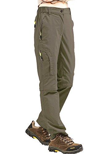 mosingle Pantaloni da trekking da donna, leggeri, ad asciugatura rapida, elasticizzati, UPF 50, Angel Safari Cargo, Capri con tasche con chiusura lampo, Donna, cachi, 32-