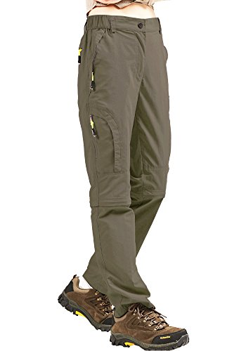 Toomett Hiking Pants Women Convertible Outdoor Lightweight Quick Drying Travel Trail Durable Stretch Pants, 4409,Khaki,32