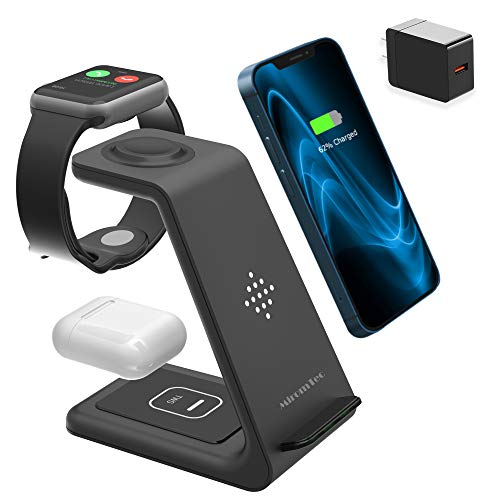 3 in 1 Wireless Charging Station for Multiple Devices - Qi Wireless Charging Certified Pad - Apple Watch Charger 6,5,4,3,2 & AirPods Pro, iPhone 12 11 Pro Max Xs X Xr 8 (with QC 3.0 Adapter)