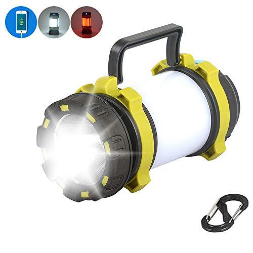 SUNSHIN Lanterna di Campeggio Principale Ricaricabile USB, proiettore 2 in 1, Banca di Potere 4000mAh per Escursionismo, Pesca, interruzioni di Corrente, ECC
