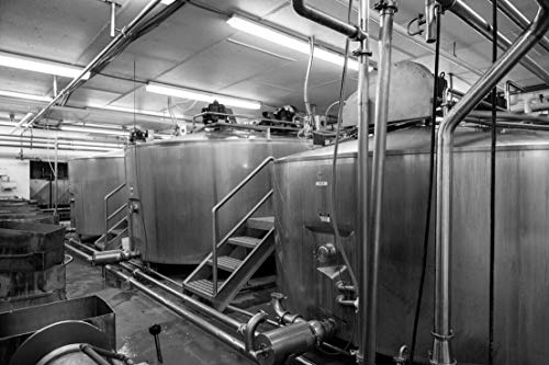 18 x 24 Black & White Canvas Wrap of Pipes and vats at The Old Country Cheese Plant in Cashton Wisconsin Where Large Bricks of mild semi-Soft muenster Cheese are Fashioned from mil a77 2016 Highsmith