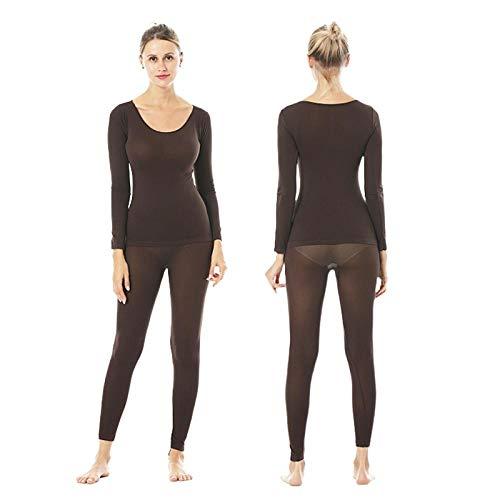 Damen Thermounterwäsche, ultradünn, nahtlos, warm, 37 Grad Thermostat-Unterwäsche, Großhandel, Damen-Heizfaser, Unterwäsche-Set lange Hose, Thermounterwäsche-Set, braun