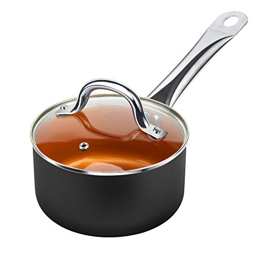 SHINEURI 1.5 Quart Copper Saucepan, Nonstick Ceramic Mini Sauce Pan - Cooking for Soup, Stew, Sauce & Reheat Food, CompatibleforInduction, Gas,Electric&Stovetops, Perfect for 1 Person Meal