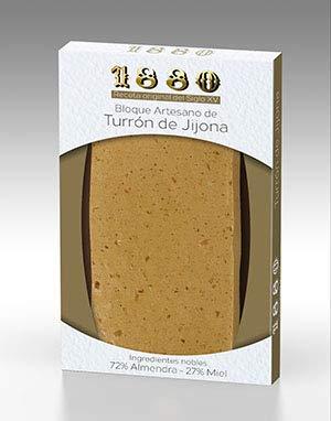 1880 - Bloque Artesano de Turrón de Jijona Ingredientes Nobles, Textura Cremosa, Calidad Suprema Denominación de Origen Receta del S Xv., Turrón Tradicional Sin Gluten, Almendra, 220 Grams