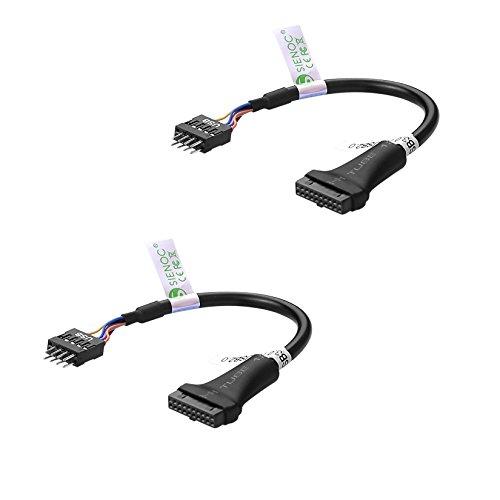 2 Stück USB 3.0 20-Pin Buchse zu dem auf USB 2.0 Motherboard 9-pin Stecker Kabel Adapter