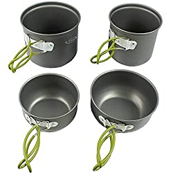 G4Free Camping Cookware Mess Kit 4/13 Piece Hiking Backpacking Picnic Cooking Bowl Non Stick Pot Pan Knife Spoon Set