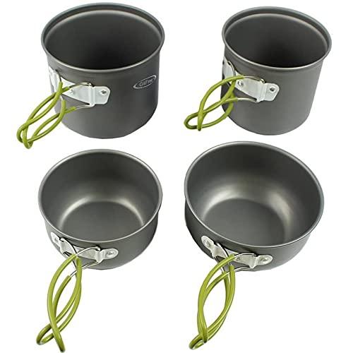 G4Free 2/4/13 PCS Camping Cookware Mess Kit Hiking Backpacking Picnic Cooking Bowl Non Stick Pot Knife Spoon Set (4PCS)
