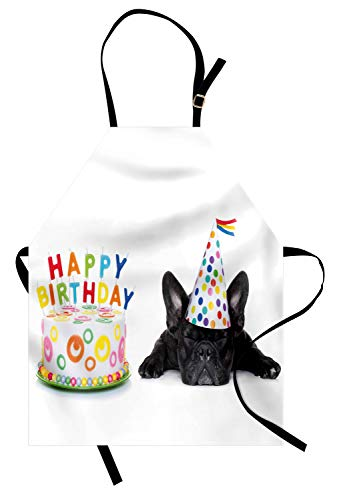 Ambesonne Birthday Party Apron, Sleepy French Bulldog Party Cake with Candles Cone Hat Celebration Image, Unisex Kitchen Bib with Adjustable Neck for Cooking Gardening, Adult Size, Black Rainbow