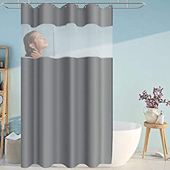 Eforcurtain Fashion Solid Gray Cloth Shower Curtain with White Organza Top Water Resistant Bath Curtains with Rust Proof Metal Grommets 54 x 78 Inches Stall Extra Long