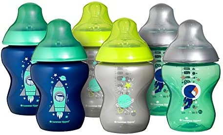 Tommee Tippee Closer to Nature® Baby Bottles, Breast-Like Teat with Anti-Colic Valve, 260ml, Pack of 6