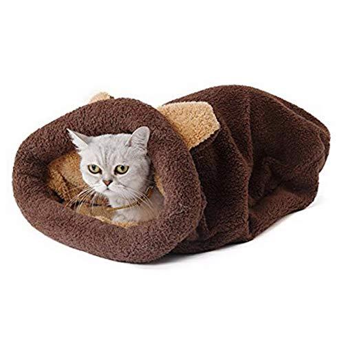 YOAI Katzen Schlafsack Waschbar bequem Haustier Kissen Katzenbett Kuschelh?hle aus Fleece f¨¹r Katzen, Kleintiere oder Welpen Brau L