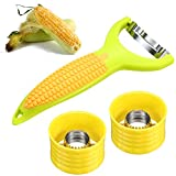 3 Pieces Stainless Steel Cob Corn Stripper Corn Peeler Kernel Cutter Corn Peeling Knife with Protective Cover for Home Kitchen Restaurant Corn Peeling Tools