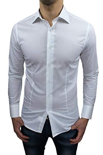 Camicia Uomo Sartoriale Bianca Slim Fit Aderente Nuova Casual Elegante (L)