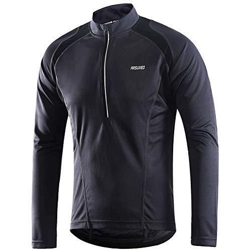 Maglia da ciclismo a maniche lunghe, mezza cerniera MTB Bike Shirts,Cycle Top Quick Dry traspirante Mountain Bike Shirt (grigio scuro,M)