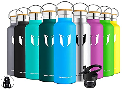 Super Sparrow Trinkflasche Edelstahl Wasserflasche - 750ml - Isolier Flasche mit Perfekte Thermosflasche für Das Laufen, Fitness, Yoga, Im Freien und Camping | Frei von BPA (Meerblau)