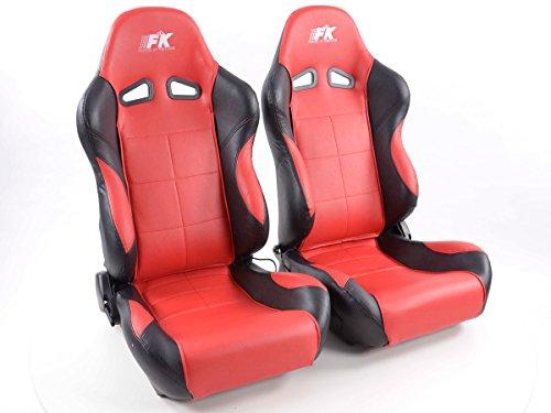 FK Automotive FK Sportsitz Autositz Halbschalensitz Set Comfort Rennsitz mit Sitzheizung + Massagefunktion FKRSE895/896