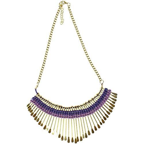 CHICNET ketting paars violet messing statement staafjes goud katoen nikkelvrij 44-48-5 cm antiek tribal