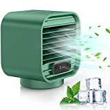 Portable Air Conditioner, Zarcdo 3in1 Personal Air Cooler, 2000mAh Rechargeable Mini Desktop Mobile Cooling Fan Small Evaporative Cooler Adjustable 3 Speeds for Home, Office, Room, Camping - Green