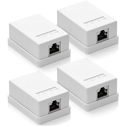 deleyCON 4x CAT 6a Netzwerkdose 1x RJ45 Buchse FTP geschirmt Aufputz Montage 10 Gbit Ethernet Netzwerk LAN Dose RAL 9003 Weiß