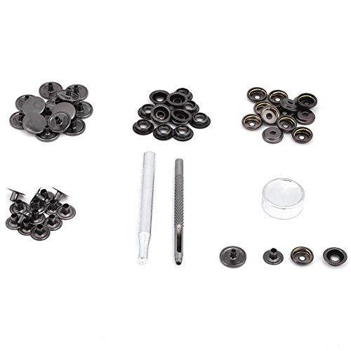 Akozon 15pcs 15mm Metal Press Stud Botón a Presión Sujetador con Herramientas para Cuero Craft Clothes Jacket Bags Repair(Pistola Negra)