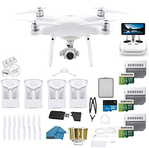 DJI Phantom 4 PRO Plus Drone with 1-inch 20MP 4K Camera KIT With Monitor, 4 Total DJI Batteries, 3 64GB SDXC Cards, Card Reader 3.0, Prop Guards, Range Extender, Harness with Charging Hub (White)