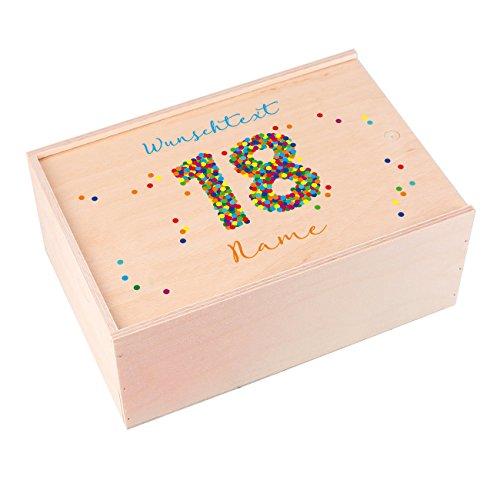 Herz & Heim® Holzkiste als Geschenkverpackung zum 18. Geburtstag mit Wunschtext und Namensaufdruck