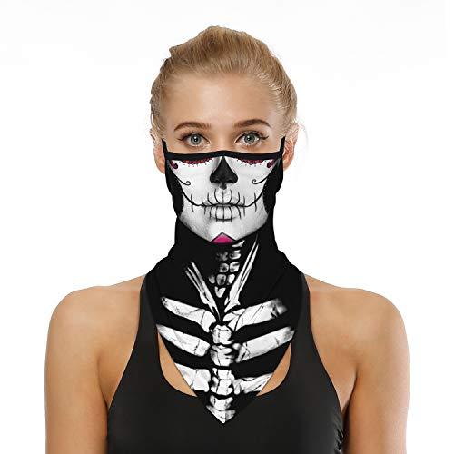 SRVOKOX Halloween Deadpool Skeleton Ghost Zombie Joker Sugar Skull Bandana Neck Gaiter Face Mask Covering Ear Loop Hole Triangle Bandanas for Men Women Summer UV Face Scarf Mask Cover for Fishing