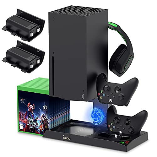 Vertical Cooling Stand Compatible with Xbox Series X, YUANHOT Charging Station Dock with 1400mAh Rechargeable Battery Pack and Dual Controller Charger Ports (NOT Compatible with Xbox One X/S)