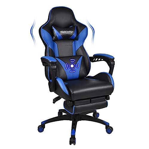 YU YUSING Massage Racing Gaming Stuhl Bürostuhl Drehstuhl Ergonomisch Sportsitz höhenverstellbarer Computerstuhl Chefsessel Schreibtischstuhl mit Kopfstützen, Armlehnen und Fußstützen (Blau)