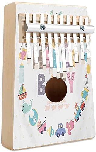 Baby Shower Kalimba 10 teclas Piano de pulgar Hello Baby Cita con elementos para niños y divertidos pájaros búho Bienvenido Fiesta de recién nacidos Portátil Mbira Sanza Piano de dedo de madera afric