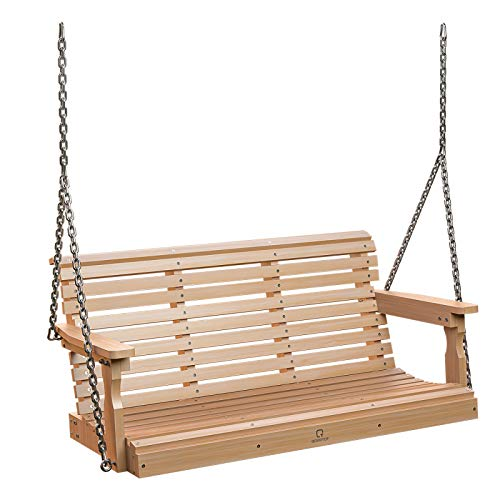 OT QOMOTOP Porch Swing, Heavy Duty 600 LB Patio Swings with 304 SS Chains, Weather Resistant Poly Lumber Swing for Porch, Garden, Backyard, 50L 22W