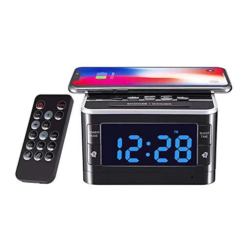 Draadloos Opladen Bluetooth Speaker Power Bank FM-Radio Dual Wekker Charge Docking Portable Luidsprekers Klok Opladers Voor Mobiele Telefoons Station, Fast Charger, Bluetooth Speaker,Black