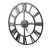 Mengshen Reloj De Pared con Números Romanos Gigantes - 19.7 Pulgadas, Negro
