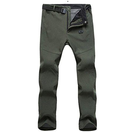 CIKRILAN Hommes Outdoor Polaire Soft Shell Pantalon Hydrofuge Coupe-Vent Sports Trousers Respirant Randonnée Camping Pantalon (2XL, Armée Vert)