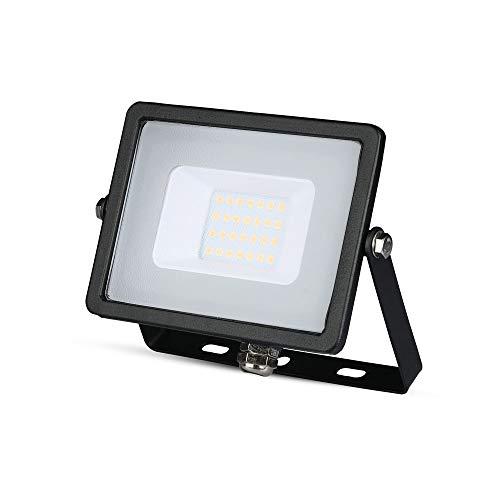 V-TAC SKU.440 - Projecteur LED Slim 20W IP65 4000K, Aluminium, Étanche, Noir, Hauteur x Largeur x Profondeur : 15,3 x 10,8 x 2,6 cm