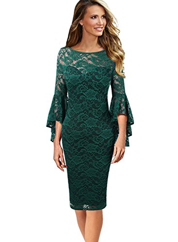 VFSHOW Womens Green Floral Ruffle Lace Bell Sleeve Slim Casual Cocktail Wedding Party Bodycon Pencil Sheath Dress 3370 GRN L