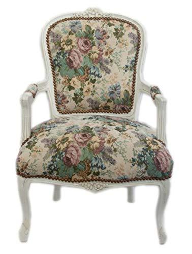 Casa Padrino Silla Barroco Salón de diseño Floral/Blanco Antiguo - Diseño de Muebles Antiguos