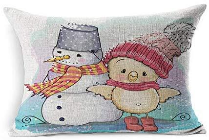 DarrenOw02 - Funda de cojín rectangular con diseño de muñeco de nieve y muñeco de nieve con motivos navideños de la felicidad de color rosa, para fiestas de pájaros, 16 x 24 pulgadas, para sala de estar, sofá, decoración al aire libre