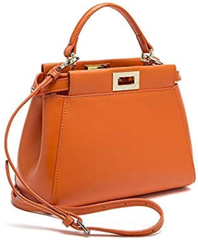 Bloomerang New Designer Brand Classic Peekaboo Tote Bag of 3 Split Leather Handbags Women Ladies Messenger Crossbody Bags an310 color Mini orange