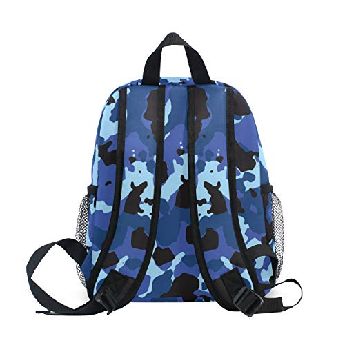 Chic Houses Force Camouflage Blue Navy Pattern Mini Casual Packback Military Army Enthusiast Style Toddler Bookbag School Bag for 3-8 Years Old Boys Girls Kids Preschool Backpack 2030503