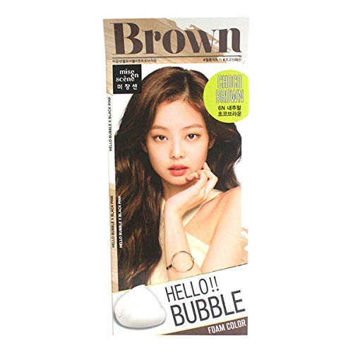 MISEENSCENE Hello Bubble Hair Easy At-Home Color with Hair Ampoule for Hair Protection Vivid Color (Choco Brown)