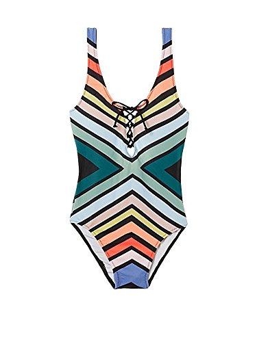 Victoria's Secret PINK One Piece Swimsuit V Front Chevron Multi L