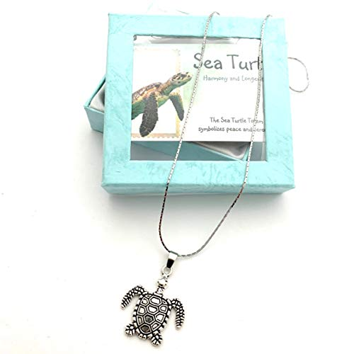 Smiling Wisdom - Sea Turtle Totem Animal Girls Necklace Gift Set - Totem Spirit Animal Guide Turtle Necklace, Turtle Card - Gifts for Girls,Tween, Teen, Woman - Antique Silver