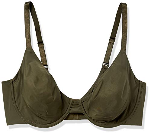 Undies.com Women's Micro Full Coverage Convertible Unlined Everyday Bra, Rich Olive, 38C