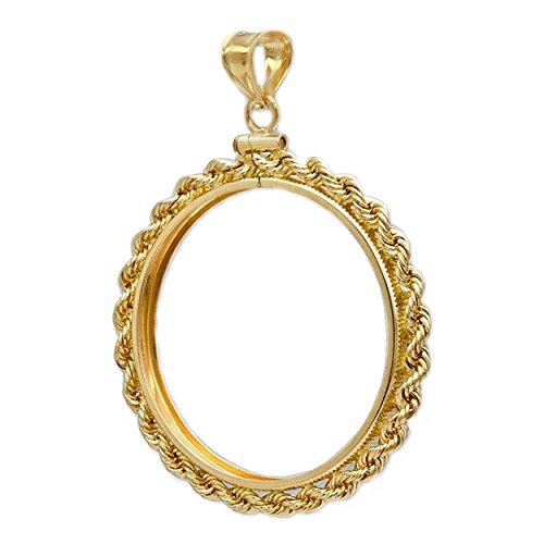 Flintski Jewelry 14k Gold 1 oz $50 Eagle Rope Coin Bezel Frame Mount Pendant