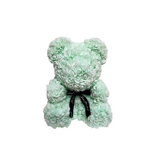 NUOBESTY - Oso de flores de 25,4 cm para el día de San Valentín, aniversario, cumpleaños, despedidas de soltera, madres (verde menta)