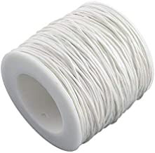 PandaHall Gewachstem Baumwollfaden Schnur 1 mm weiß