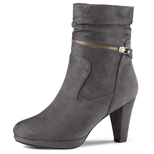 Allegra K Women's Ankle Zip Platform High Heel Grey Mid Calf Boots 8 M US