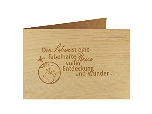 Holzgrußkarte - Spruchkarte - 100% handmade in Österreich - Postkarte Glückwunschkarte Geschenkkarte Grußkarte Klappkarte Karte Einladung, Motiv:LEBEN IST EIN FABEHAFT REISE